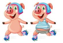 Pigs Playing Roller Skate
