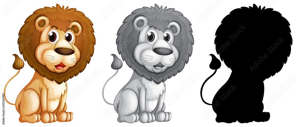 Fototapeta Set of male lion character