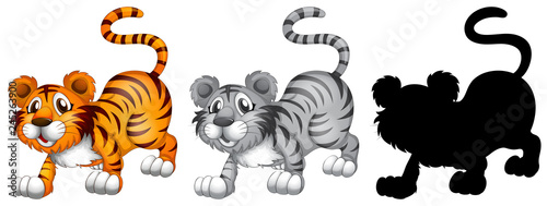 Poster Kids Set of tiger character