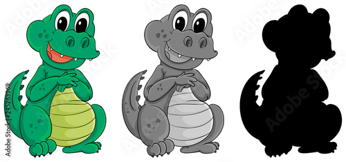 Poster Kids Set of crocodile character