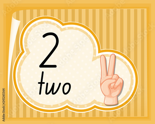 Staande foto Kids Count two with hand gesture