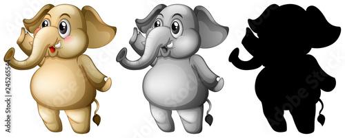 Staande foto Kids Set of elephant character