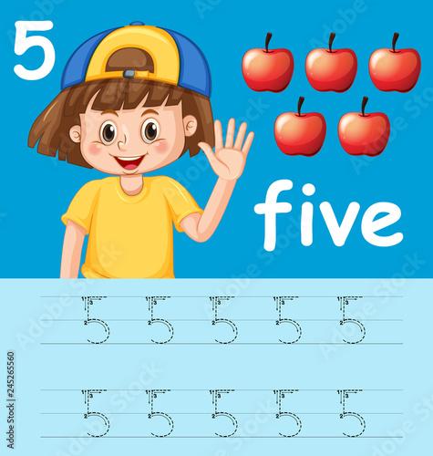 Staande foto Kids Number five tracing alphabet worksheets