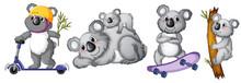 Set Of Koala Bear Character