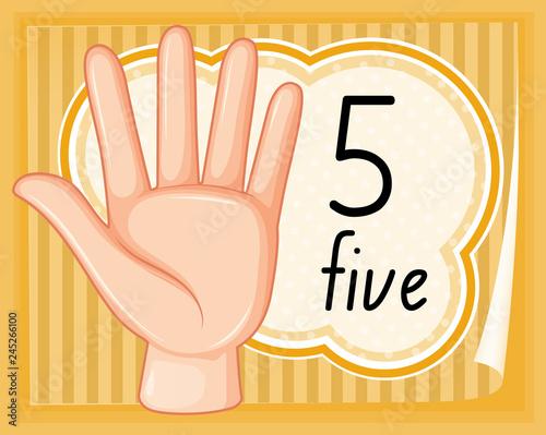 Staande foto Kids Number five hand gesture