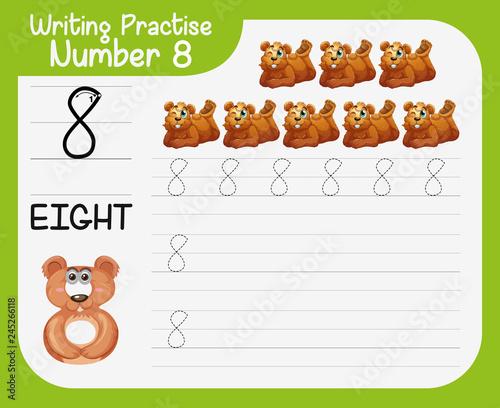 Staande foto Kids Writing practice number eight