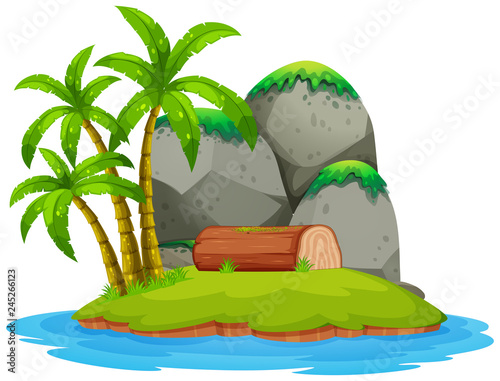 Staande foto Kids Isolated island on white background