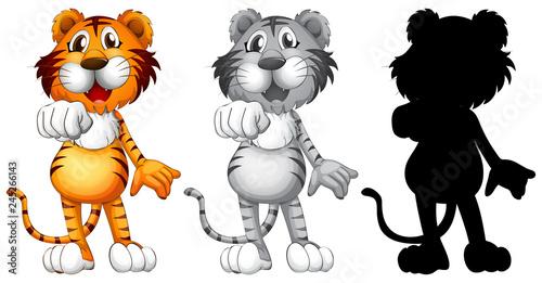 Staande foto Kids Set of tiger character