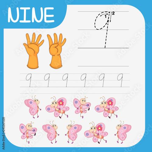 Staande foto Kids Math writing practise number nine