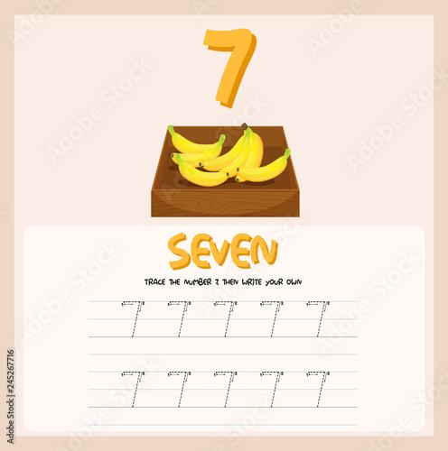 Staande foto Kids How to write number seven worksheet