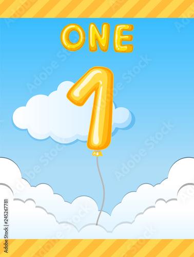 Staande foto Kids Number one balloon on sky