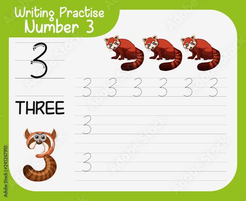 Staande foto Kids Writing practise number three