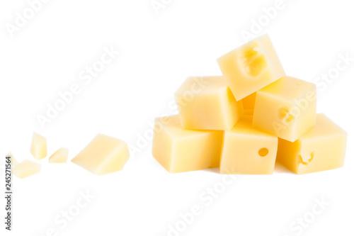 Käse Würfel isoliert Hintergrund weiß