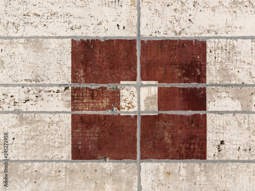 Photo Wall of concrete slabs with a picture of rectangles