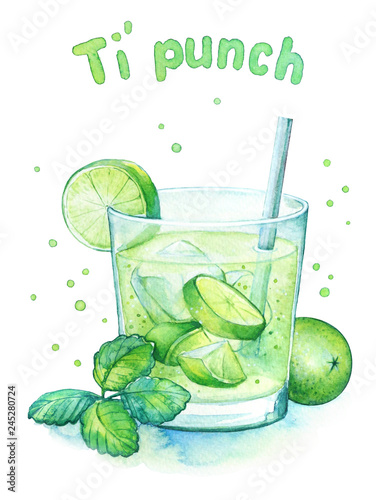Fotografía  Watercolor illustration of the lime franch coctail Ti punch in the glass