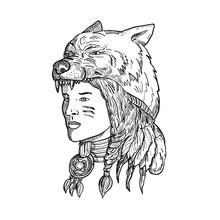 Native American Woman Wearing Wolf Head