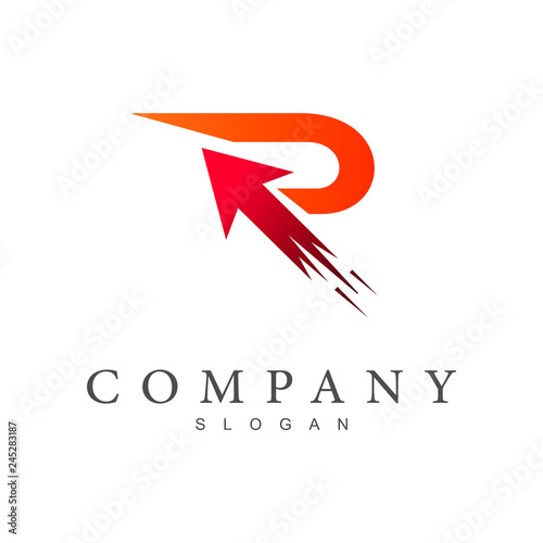 fast letter r with arrow, business logo design Wallpaper Mural