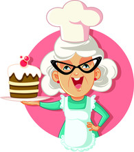 Grandmother Holding Cake Vector Cartoon