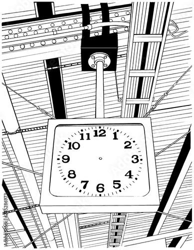 漫画風ペン画イラスト 駅 ホーム Adobe Stock でこのストック