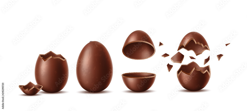 Fototapety, obrazy: Vector realistic chocolate eggs set easter symbol