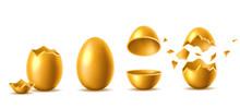 Vector 3d Golden Eggs With Bro...