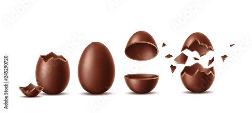 Photo  Vector realistic chocolate eggs set easter symbol