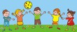 happy kids and ball on meadow, funny vector illustration