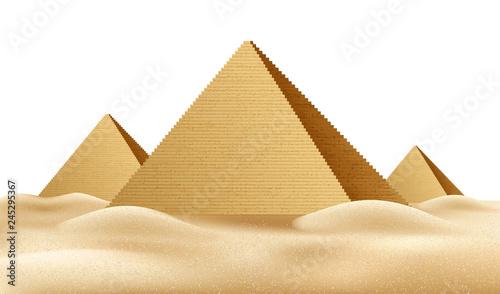 Obraz na plátně Vector Egypt pyramids, famous landmark realistic a