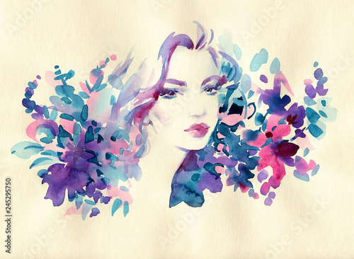 Papiers peints Portrait Aquarelle beautiful woman. fashion illustration. watercolor painting