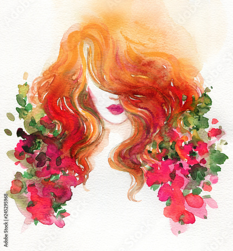 Garden Poster Watercolor Face beautiful woman. fashion illustration. watercolor painting