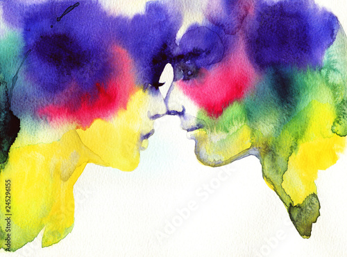 Tuinposter Aquarel Gezicht man and woman. fashion illustration. watercolor painting
