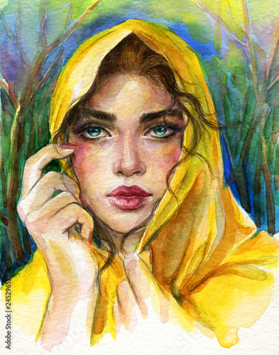 Poster Portrait Aquarelle beautiful woman. fashion illustration. watercolor painting