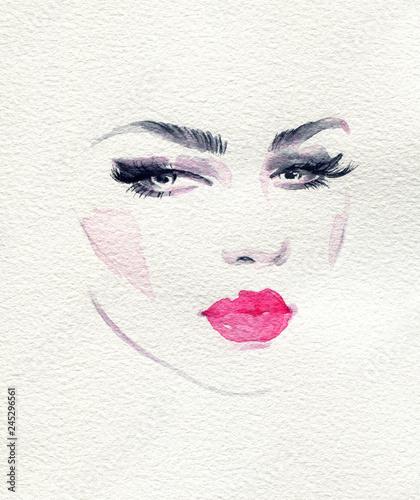 Tuinposter Aquarel Gezicht beautiful woman. fashion illustration. watercolor painting