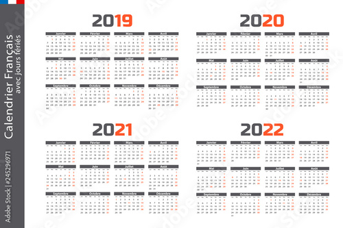 Calendrier 2019 Vectoriel.Calendrier 2019 2020 2021 2022 Buy This Stock Vector