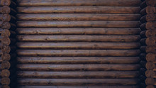 Dark Colored Wooden Cabin Wall...