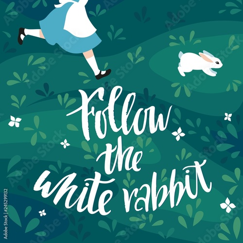 Follow the White Rabbit Vector Illustration Canvas Print