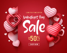 Valentines Day Sale Vector Banner. Sale Discount Text For Valentines Day Shopping Promotion With Hearts Elements In Red Background. Vector Illustration.