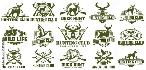Leinwand Poster Collection of hunting logo, vector set of hunt label, badge or emblem, duck and
