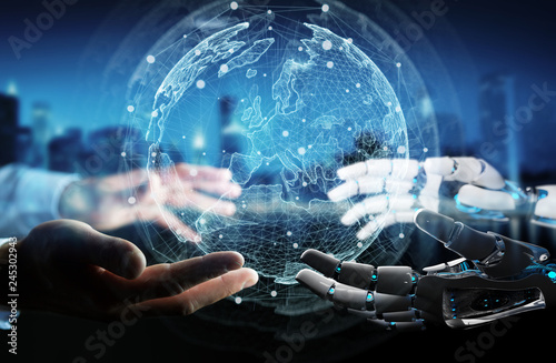 Robot hand and human hand touching digital world 3D rendering