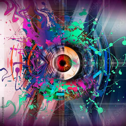Цветная рисованная иллюстрация глаз