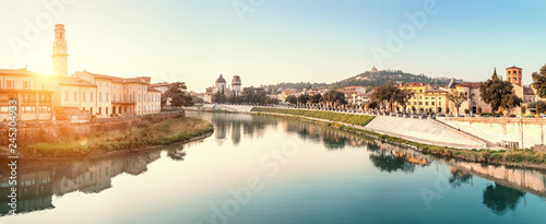 Foto auf Acrylglas Weiß Panoramic cityscape view of Verona old town and bridge over Adige river. Travel destination in Italy concept