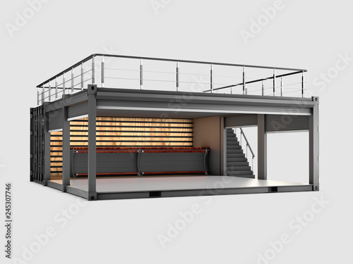 Converted old shipping container into cafe, 3d Illustration isolated gray © tussik