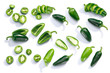 canvas print picture - Jalapeno chiles whole sliced chopped, top, paths