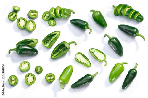 Jalapeno chiles whole sliced chopped, top, paths - 245308904
