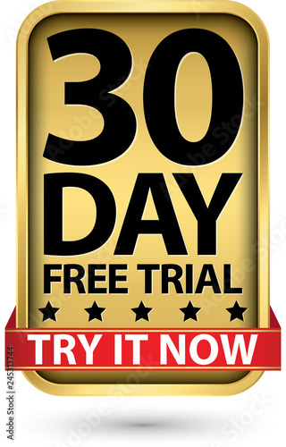 30 day free trial try it now golden label, vector illustration Fototapete