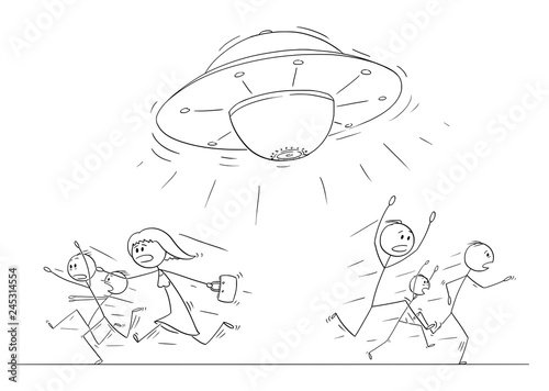 Fotografie, Obraz Cartoon stick figure drawing illustration of group or crowd of people running in panic away from UFO or alien space ship
