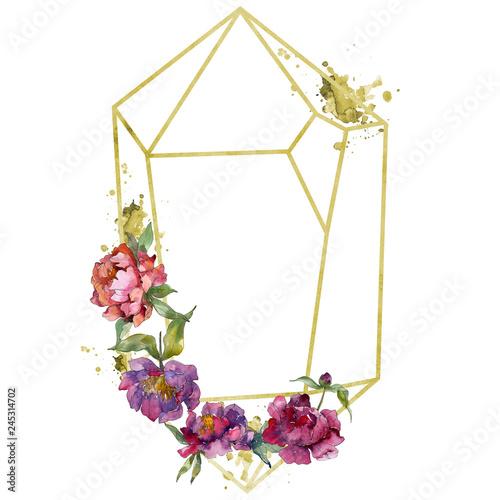 Poster Fleur Purple peony floral botanical flower. Watercolor background illustration set. Frame border ornament square.