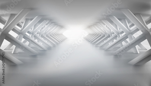Empty long hall with many supports. Illuminated tunnel. Vector illustration.