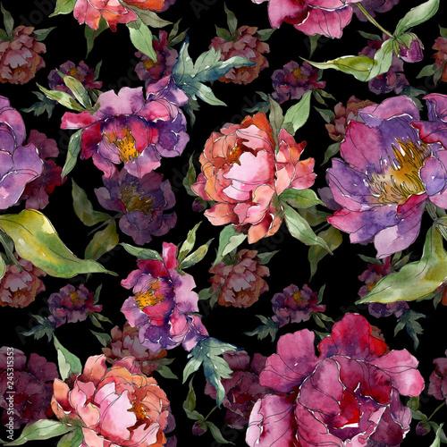 purple-peony-floral-botanical-flower-watercolor-background-illustration-set-seamless-background-pattern