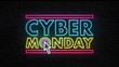 Cyber Monday Sale Retro Neon Sign 4K Animation. Discount Day Promotion Light Banner Glowing On A Dark Brick Wall Background.